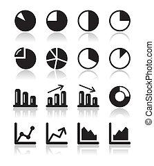komplet, ikony, wykres, wykres, czarnoskóry, inf