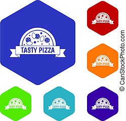 komplet, ikony, znak, smakowity, sześciokąt, pizza