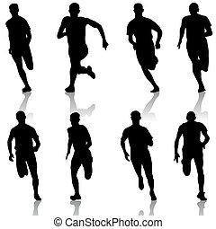 komplet, illustration., silhouettes., men., wektor, biegacze, sprint