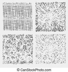 komplet, illustration., struktura, wektor, wylęgając, szorstki, rysunek