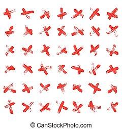 komplet, illustration., uderzenia, poznaczcie., odizolowany, krzyż, wektor, krzyżowany, szczotka, vector., znaki, x, czerwony
