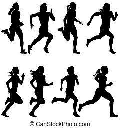 komplet, illustration., women., silhouettes., wektor, biegacze, sprint