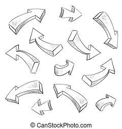 komplet, ilustracja, sketchy, wektor, projektować, strzała, elementy, 3d