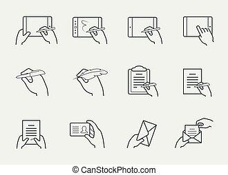komplet, interacting, obiekty, cienki, dzierżawa wręcza, kreska, ikona