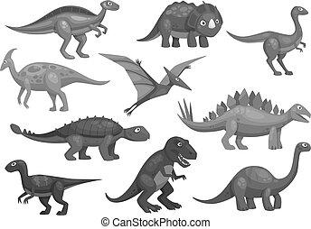 komplet, jurajski, ikony, dinozaury, litery, rysunek