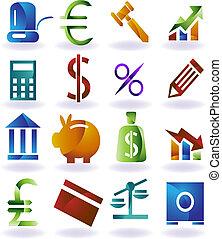 komplet, kolor, ikona, bankowość