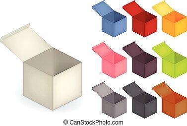 komplet, kolor, otwarty, błękitny, rozmaitość, odizolowany, infographics, biały, prezentacja, 3d, różowy, handlowy, zbiór, szary, reklama, biały, czerwony, boks, realistyczny, zielony, srebro