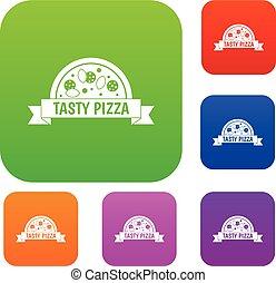 komplet, kolor, zbiór, znak, smakowity, pizza