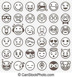 komplet, konturowany, 2, czarnoskóry, biały, emoji