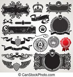komplet, królewski, wektor, ozdobny, układa, elementy