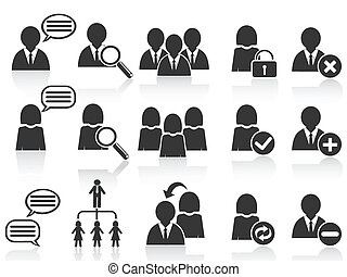 komplet, ludzie, symbol, ikony, czarnoskóry, towarzyski