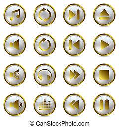 komplet, muzyka, złoty, ikony