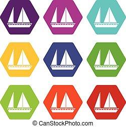 komplet, nawigacja, kolor, hexahedron, łódka, ikona