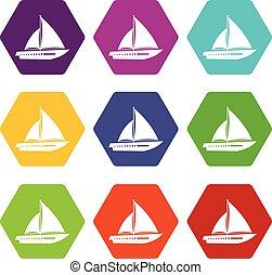 komplet, nawigacja, kolor, hexahedron, jacht, ikona