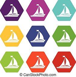 komplet, nawigacja, kolor, hexahedron, statek, ikona