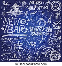 komplet, -, nowy, ferie, rok, doodles, boże narodzenie