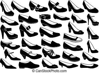komplet, obuwie, ilustracja