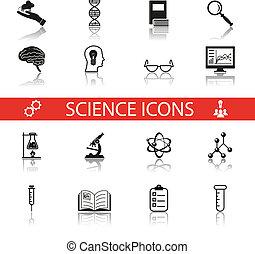 komplet, odbicie, ikony, prosty, nauka, odizolowany, praca badawcza, symbolika, wektor