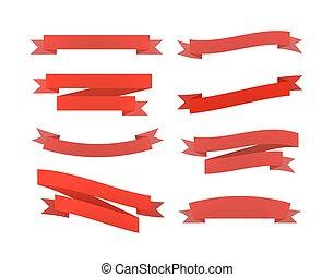 komplet, odizolowany, retro, biały, wstążki, czerwony