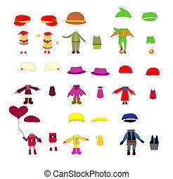 komplet, odzież, dzieci, wektor, zaprojektujcie elementy