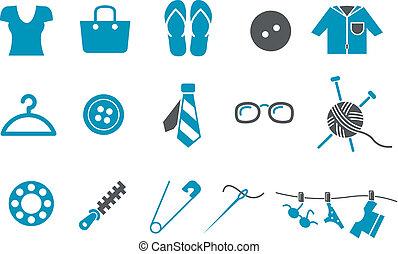komplet, odzież, ikona