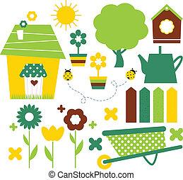komplet, ogród, wiosna, odizolowany, wieś, biały