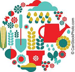komplet, organiczny, ogród, tło, objects;