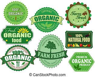 komplet, organiczny, zagroda, etykiety, jadło, świeży, symbole