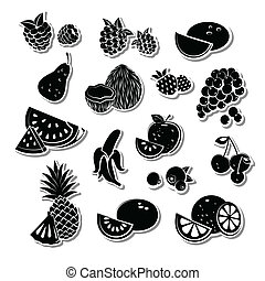 komplet, owoc, retro