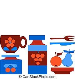 komplet, owoce, odizolowany, ilustracja, filiżanka