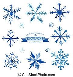 komplet, płatki śniegu, -, ręka, akwarela, wektor, pociągnięty