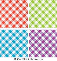 komplet, piknik, barwny, gotowanie, wektor, tablecloth