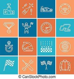 komplet, piktogram, ślad, samochód, uderzenie, sport, szybkość, hełm, warcaby, wheel., bandery, biegi, zaopatrywać, mistrzostwo, linearny, auto, editable, icons., miłośnik, kreska, sterowniczy, wypadek, wóz, biegacz, wektor