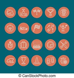 komplet, piktogram, ślad, samochód, uderzenie, znaki, sport, szybkość, hełm, warcaby, wheel., -, bandery, biegi, zaopatrywać, mistrzostwo, linearny, auto, editable, icons., miłośnik, kreska, sterowniczy, wypadek, wóz, biegacz, wektor