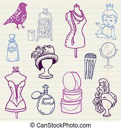 komplet, pociągnięty, -, ręka, wektor, projektować, doodles, album na wycinki, fason, twój