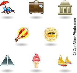 komplet, podróż, ikona, turystyka