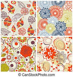 komplet, próbka, seamless, kwiatowy, kolor, modny