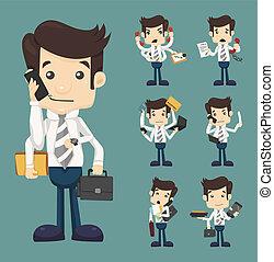 komplet, pracujący, clipboard, dużo, garnitur, notatnik, kontrakt, komórka, elegancki, papier, telefon, siła robocza, biznesmen, utrzymywać, dokument