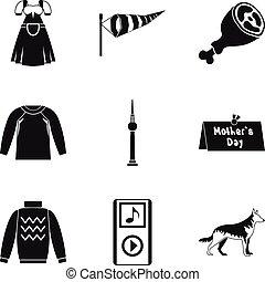 komplet, prosty, styl, odzież, ikona