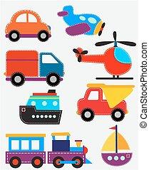 komplet, przewóz, zabawki