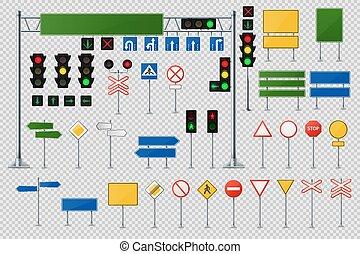 komplet, realistyczny, cielna, światła, handel, drogowe oznakowanie, semaphores.