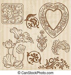 komplet, rocznik wina, -, ręka, wektor, kwiatowy, pociągnięty, kwiaty, elementy