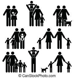 komplet, rodzina, ikona