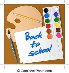 komplet, school., drawing., paper., paleta, wstecz, akwarela, wektor, malować, szczotka, narzędzia, ołówek