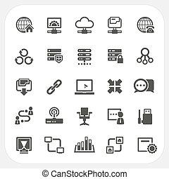 komplet, sieć, ikony