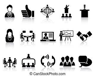 komplet, spotkanie, handlowe ikony