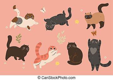 komplet, sprytny, koty, graphics., różny, wektor, colors.