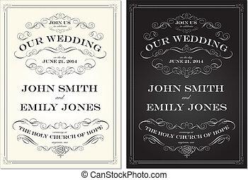 komplet, stary, ułożyć, wektor, modny, ślub