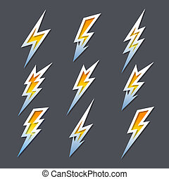 komplet, strzały, ikony, elektryczność, zygzak, piorun, albo