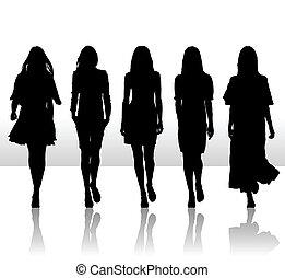 komplet, sylwetka, dziewczyny, odizolowany, ilustracja, jednorazowy, wektor, ikona